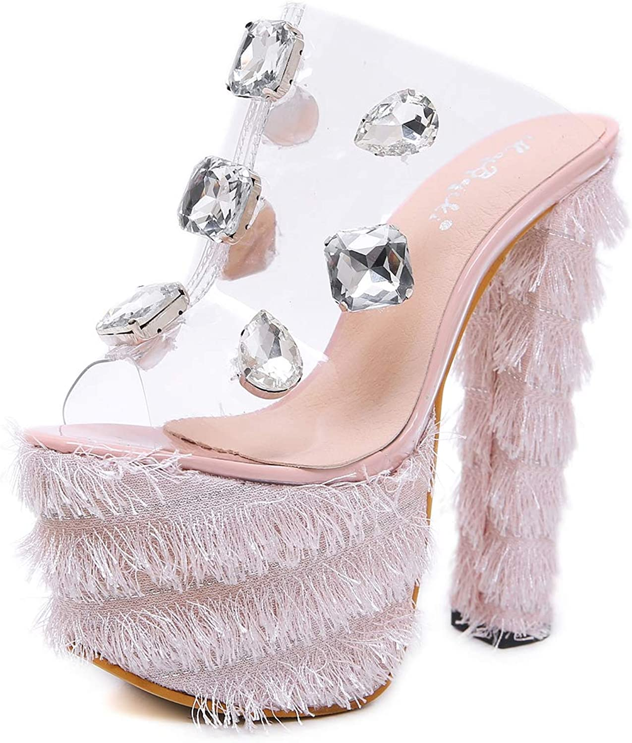 Women's Slippers - Rhinestone Super High Heel Thick with Waterproof Sexy Women's shoes