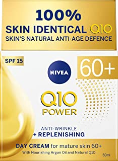 NIVEA Q10 Mature Anti-Wrinkle + Replenishing Firming Day Cream Moisturiser for Mature Skin with Argan Oil, Natural Q10 & SPF15 Sun Protection, 50 ml