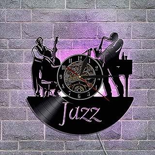 ビニールレコードの壁掛け時計、アートナイトライトウォールクロック サイレントクォーツムーブメント クリエイティブウォールデコレーションギフト リモコン付き,B