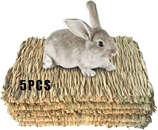 Grass Mat Woven Bed Mat for Small Animal Bunny Bedding Nest Chew Toy Bed Play Toy for Guinea Pig Parrot Rabbit Bunny Hamst...