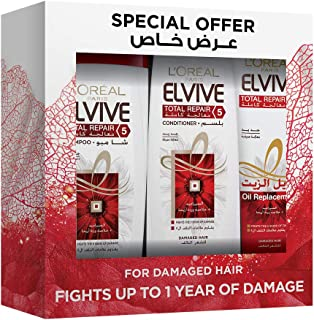 L'Oreal Paris Elvive Total Repair Set of 3 Pieces Shampoo For Damaged Hair, 400 ml with Conditioner, 400 ml and Oil Replac...