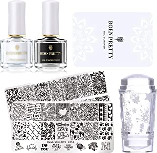 Born Pretty Nail Stamping Imagen Set-2pcs plantilla negro blanco estampado de uñas con 1pc Jelly claro estampador