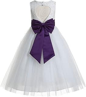 Floral Lace Heart Cutout White Flower Girl Dresses First Communion Dress Baptism Dresses 172T