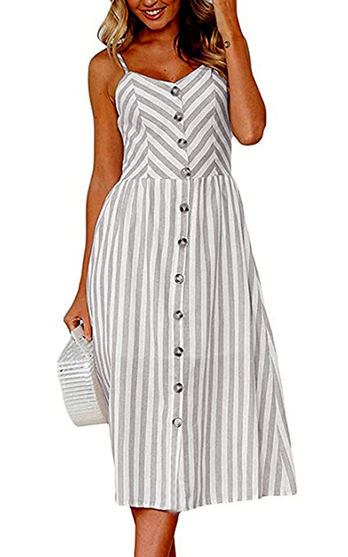 Rela Bota Women's Sundress Summer Floral Bohemian Spaghetti Strap Button Down Swing Midi Dress with Pockets