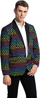 Men's Christmas Party Blazer Funny Xmas Party Suit Jacket with Santa Reindeer