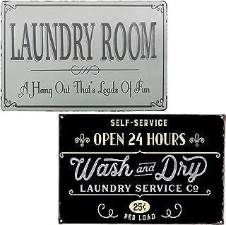 PXIYOU Panneau Mural avec règles de la buanderie et Inscription « Laundry Room Rules and Laundry » 20,3 x 30,5 cm Art déco...