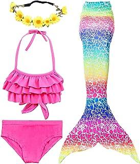 8c3ac529f8 Girls 3 PCS Swimsuit Mermaid Bathing Suit for Swimming Mermaid Princess  Bikini Set Bathing Suit Support
