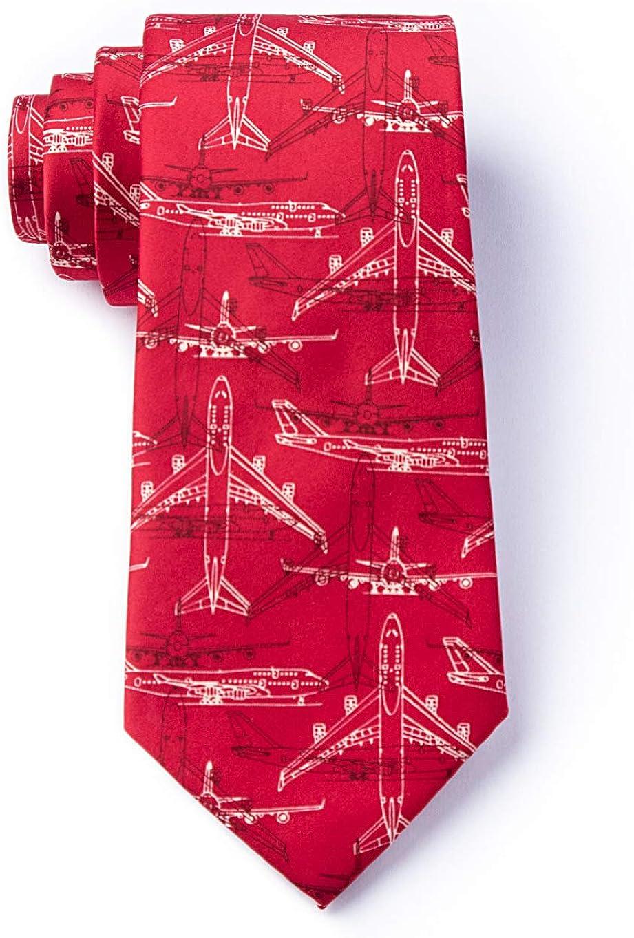 Mens Microfiber Boeing 747 Airplane Plane Pilot Aviation XL Extra Long Tie Necktie