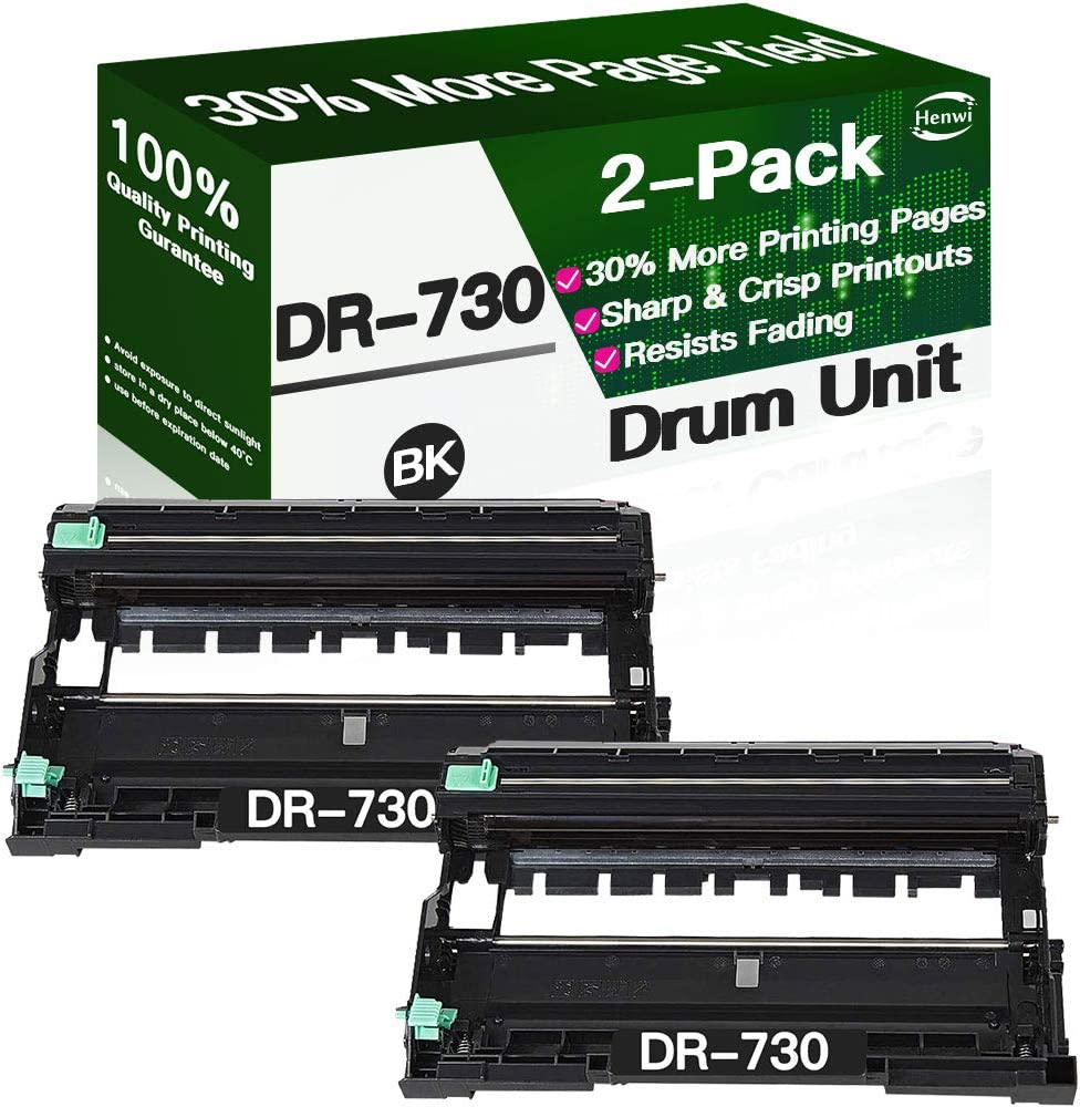 Henwi Compatible Drum Unit Replacement for Brother DR730 DR-730 use with Brother HL-L2350DW HL-L2370DW HL-L2370DWXL HL-L2390DW HL-L2395DW MFC-L2750DW MFC-L2750DWXL Printer (Black, 2-Pack)