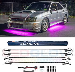 LEDGlow 4pc Pink Slimline LED Underbody Underglow Accent Neon Lighting Kit for Cars - Solid Color Illumination - Water Resistant, Low Profile Tubes - Included Power Switch Turns Lights On & Off
