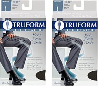 Truform Men's Knee High 15-20 mmHg Compression Dress Socks, Brown, Medium (Pack of 2)