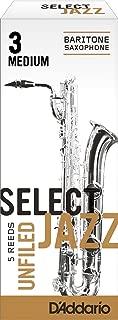 Rico Select Jazz Baritone Sax Reeds, Unfiled, Strength 3 Strength Medium, 5-pack