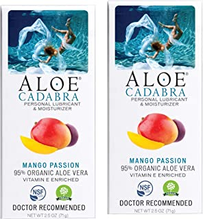 Aloe Cadabra Flavored Personal Lubricant Organic, Natural Mango Passion Lube for Anal Sex, Oral, Women, Men & Couples, 2.5 Oz (Pack of 2)