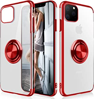 WATACHE Clear Crystal Ultra Slim Soft TPU Electroplated Frame Case Cover with Built-in 360 Rotatable Ring Kickstand for Ap...