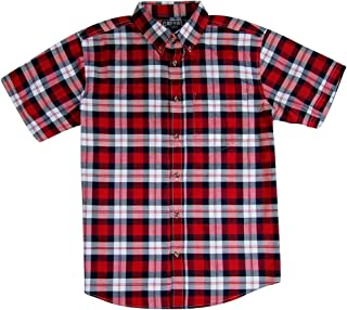 Men's Classic Plaid Short Sleeve Casual Shirt; Button Down