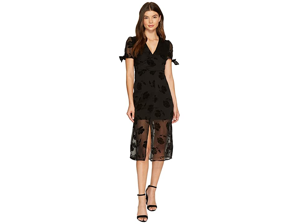 J.O.A. V-Neck Tie Sleeve Midi Dress (Black) Women