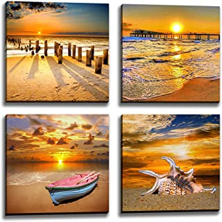 Beach Picture Wall Art Beach Poster Ocean Picture Sunset Beach Canvas Contemporary Scenery Beach Picture Photo Mural Artist Home Decor Wall Decoration Painting Canvas Printing 4 Pieces/Set