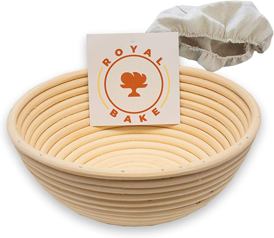 RoyalBake Banneton Bread Proofing Basket Premium 9 Inch Sourdough Bowl And Cloth Liner Round Baking Bread Basket Gift For Professional And Home Bakers