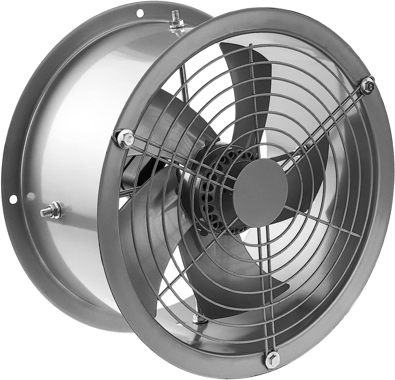 PrimeMatik - Extractor de Aire de Tubo de 300 mm para ventilación Industrial 2550 RPM Redondo 360x360x180 mm Plateado