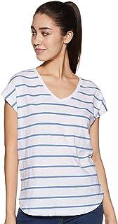 Amazon Brand - Symbol Women's Striped Regular Fit Cap Sleeves Cotton T-Shirt