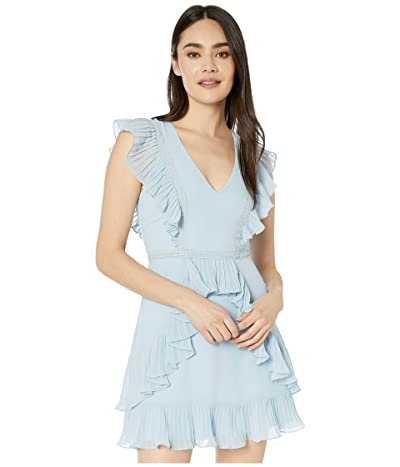 BCBGMAXAZRIA Ruffle Pleat Cocktail Dress (Light Crystal Blue) Women