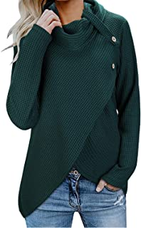 Womens Wrap Waffle Shirts Turtleneck Loose Button Lightweight Pullover Tops