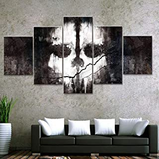 woplmh Fashion Canvas Painting -5 Panel Skull Wall Art Prints Home Decoration Landscape Modular Pictures for -30x40 30x60 30x80cm No Frame