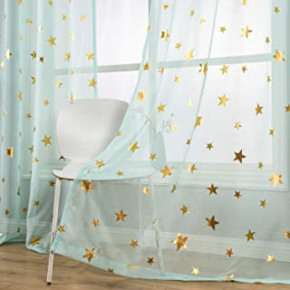 Sheer Curtain 63 inch Length Green Short Window Drapes with Gold Foil Print Twinkle Stars for Baby Nursery Grommet Top Transparent Thin and Soft Romantic Star Curtains for Cosmic Theme Bedroom 1 Pair