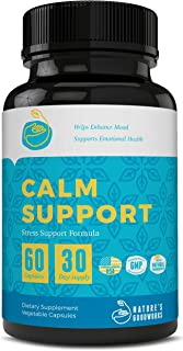 Anxiety Relief & Natural Calm Anxiety Supplements for Stress, Depression, Mood Boost, Cortisol Manager & Serotonin Enhancer with Ashwagandha, GABA, 5-HTP, Natural Calm Magnesium 60 Happy Pills