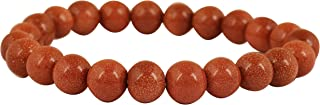 Touchstone New Indian Bollywood Finely Cut Finished 8 MM Round Shape Natural Gemstone Power Emitter Stress Reliever Healer Nerve Controller Health Maintainer Stretchable Bracelet for Women and Men.