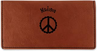 Peace Sign Leatherette Checkbook Holder - Single Sided (Personalized)