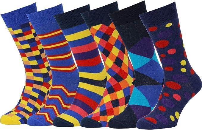 Chaussettes Fantaisie Homme Coton Peign/é Lot 6 Paires Qualit/é Europ/éenne Easton Marlowe