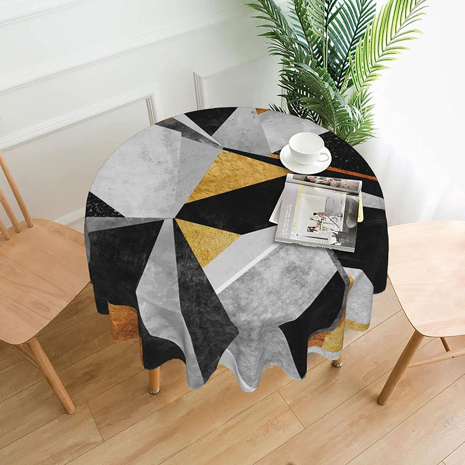 Max 90% OFF Black Marble Round Tablecloth Oil-Proof Max 78% OFF Spill-Proof and W Water