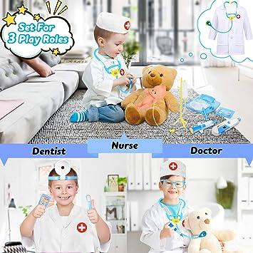 Blau Fivejoy 43 Teile Arztkoffer Kinder Spielzeug Doktorkoffer Kinder Blau