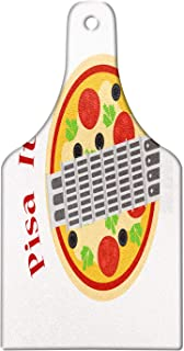 Ambesonne Italy Cutting Board, Cartoon Style Drawing Sketch of Leaning Tower of Pisa on Pizza Artwork, Decorative Tempered Glass Cutting and Serving Board, Wine Bottle Shape, White and Multicolor