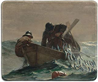 dealzEpic - Art Mousepad - Natural Rubber Mouse Pad with Famous Fine Art Painting of The Herring Net by Winslow Homer - Stitched Edges - 9.5x7.9 inches
