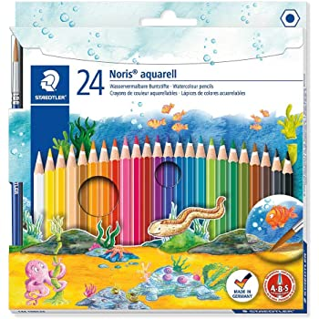 Staedtler 144 10NC24 Noris Club Aquarell Watercolour Pencils Plus Paint Brush, Assorted Colours, Pack of 24