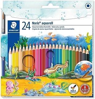 Staedtler Noris Aquarell, Crayons de couleur aquarellables avec système anti-casse, Utilisables à sec ou l'eau, Étui carto...