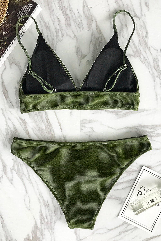 CUPSHE Women's Bikini Triangle Sexy Solid Two Piece Bathing Suit
