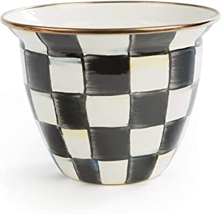 MacKenzie-Childs Courtly Check Enamel Flower Pot, Large Black-and-White Indoor Planter
