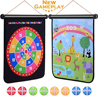 Rabosky Dart Board Games for Kids Ages 4-8-12 - Double Sided with Colorful Scoring & Hunting Gameplay - Larger Size 17x15in - Include 8 Hook & Loop Balls and One Drawstring Bag