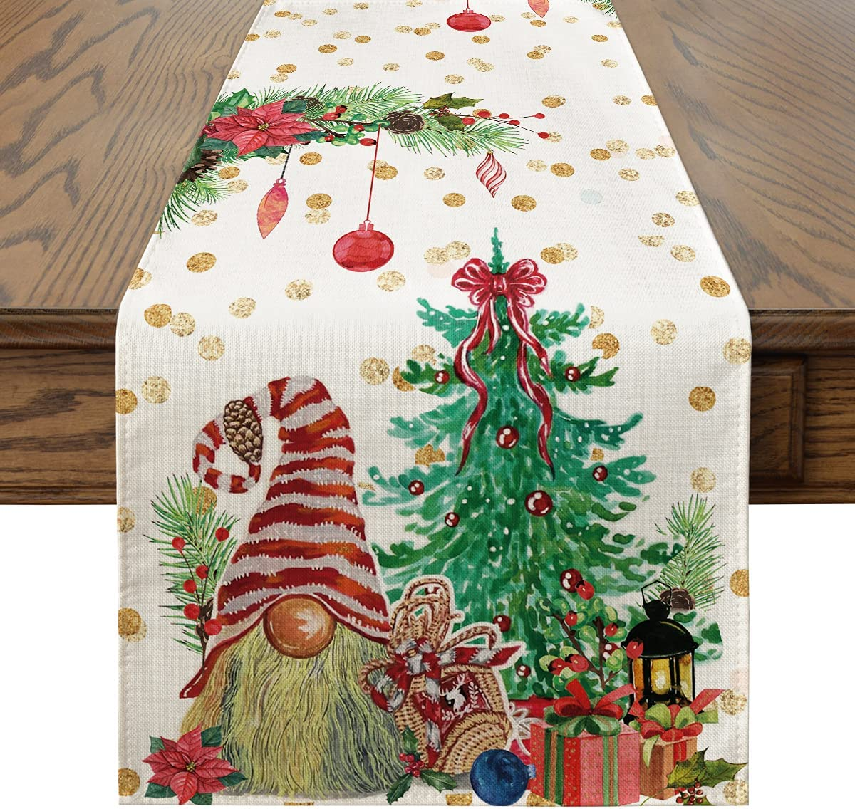 Artoid Mode Gnomes Gift Tree Christmas Table Runner, Seasonal Winter Xmas Holiday Kitchen Dining Table Decoration for Indoor Outdoor Home Party Decor 13 x 72 Inch