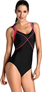 SYROKAN Women's One Piece Dual Crossback Athletic Training Swimsuit