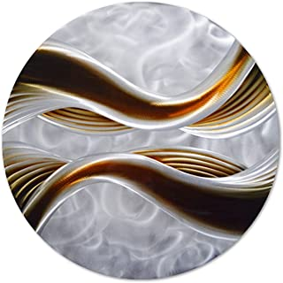 Pure Art Caramel Desire Metal Wall Art, Round Metal Wall Decor in Abstract Waves Design, 3D Wall Art for Modern and Contemporary Decor, One Panel Measures 32