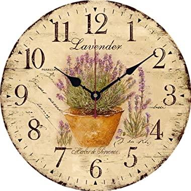 Wooden Wall Clock Non Ticking Silent 14 Inch Vintage Rustic Round Clock Battery Operated Home Decor for Bedroom Kitchen Livin