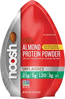 NOOSH 100% Almond Protein Powder (Unflavored, 1.15 lbs) - Plant Based, Vegan, All Natural, 21g of protein per scoop - Kosher, Gluten Free, Non GMO, No Soy, No Dairy, No Peanuts, No Palm Oil