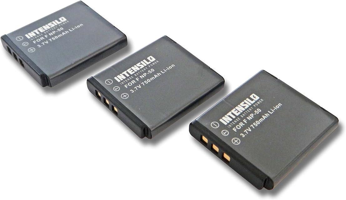 INTENSILO 3X Li-Ion batería 750mAh (3.7V) para cámara Pentax Optio S10 S12 VS20 por NP-50 D-Li122 GB-20.