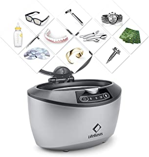 Life Basis Professional Ultrasonic Cleaner, 42KHz Sonic Cleaning Stainless Steel 750ML Automatic Timer Cleaner for Jewelry Glasses Rings Coins Watches Professional for Home (Grey White)