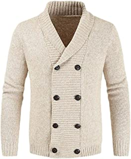 Mens Cardigan Knit Chunky Cardigan Double Breasted Shawl Collar Sweater Jackets