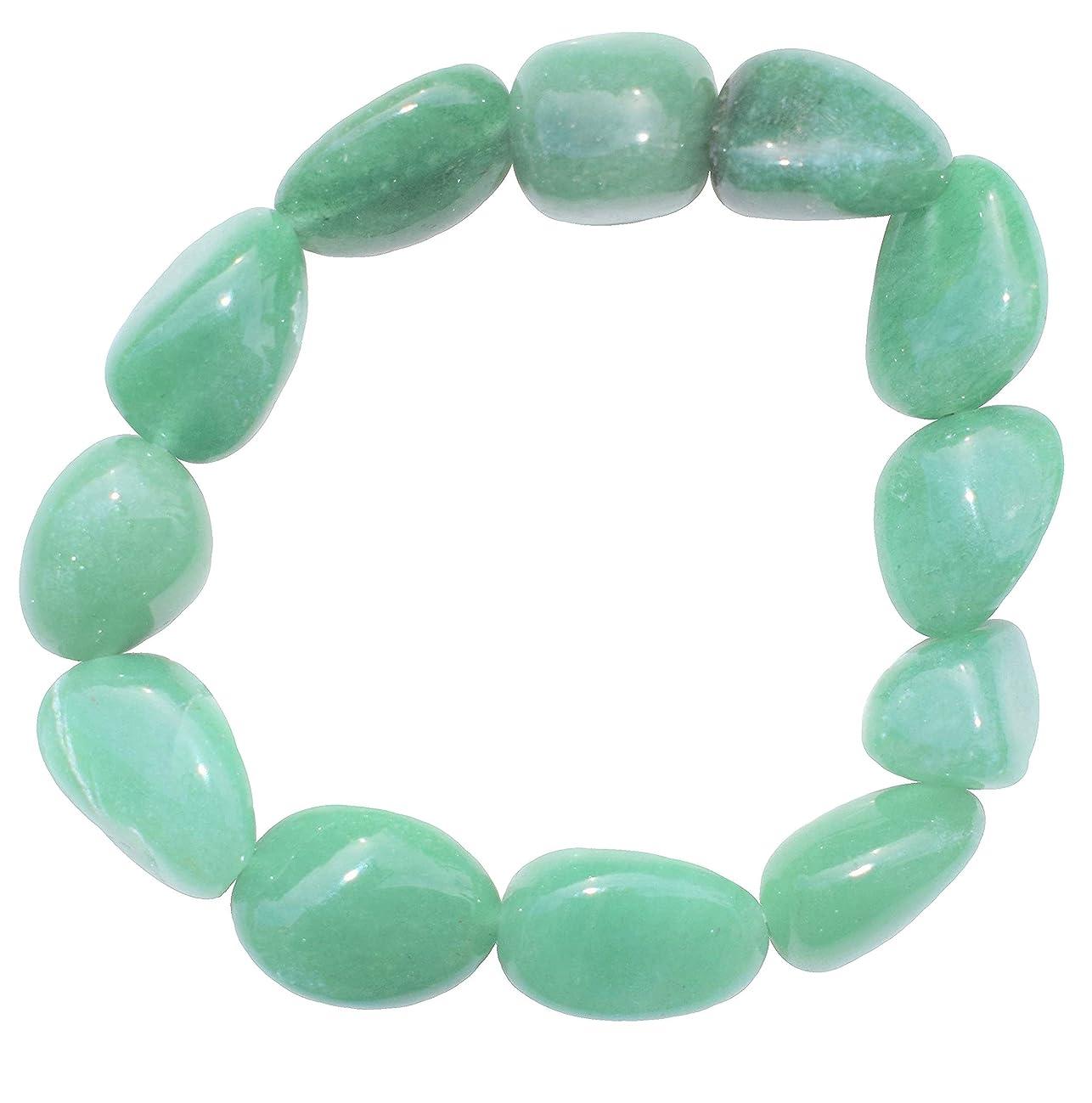 Zenergy Gems Charged Green Aventurine Crystal Bracelet Tumble Polished Stretchy (GAIN Creativity, Courage, Independence, Prosperity - BALANCES Emotions) [Reiki]